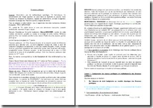 Finances publiques - Enjeux politiques et institutionnels, loi organique relative aux lois de finances, autorisation budgétaire parlementaire, etc