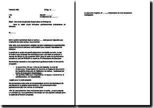 Modèle de lettre pour une demande de période d'application en entreprise dans le cadre d'une formation professionnelle d'assistante de direction
