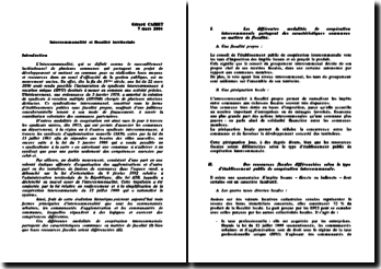 Intercommunalité et fiscalité territoriale