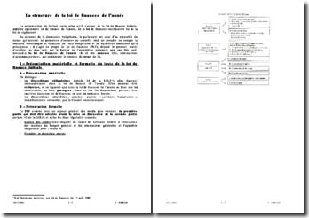 La structure de la loi de finances de l'année