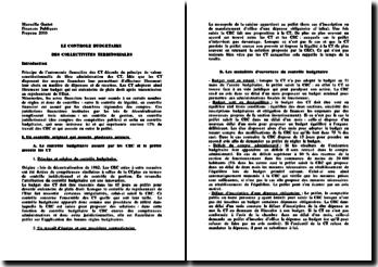 Le contrôle budgétaire des collectivités territoriales