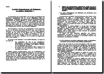 Le droit d'amendement du Parlement en matière budgétaire