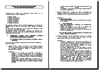 L'applications des principes budgétaires aux collectivités territoriales