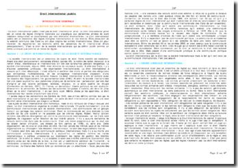 La formation et les sujets du droit international