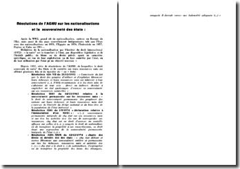 Résolutions de l'AGNU sur les nationalisations et la souveraineté des Etats