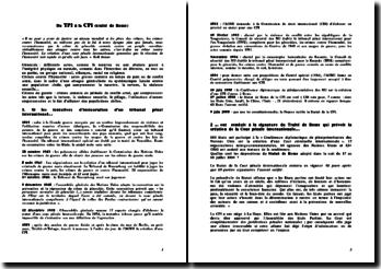 Du TPI à la CPI (traité de Rome)
