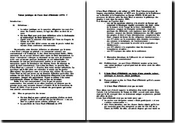 Valeur juridique de l'Acte final d'Helsinki (1975) ?