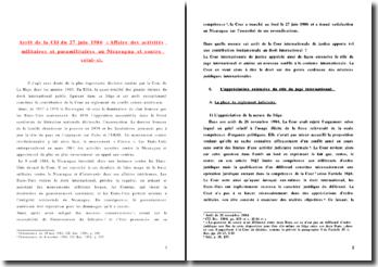 CIJ 27 juin 1986 - Affaire militaire et paramilitaire au Nnicaragua