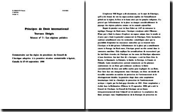 Principes de Droit international - Commentaire des règles de procédure du Conseil de l'arctique