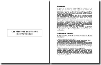 Les réserves aux traités internationaux