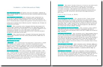 Vocabulaire en Droit International Public