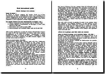 Etude de 4 décisions de la CIJ relatives à la coutume en droit international public et mises en perspective de celles-