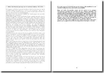 CIJ, 1960, Affaire du Droit de passage sur le territoire indien