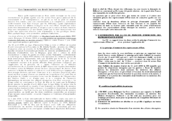 Commentaire comparé des arrêts : CIJ 11 avril 2000 RDC contre Belgique et CIJ 4 juin 2008 Djibouti contre France