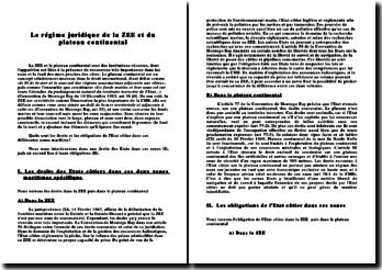 Le régime juridique de la ZEE et du plateau continental