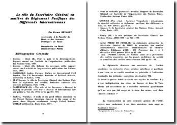 Le rôle du Secrétaire Général en matière de règlement pacifique des différends internationaux