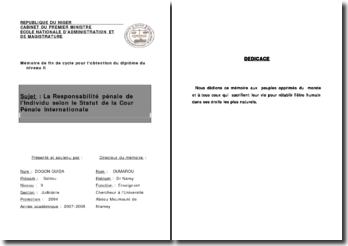 La Responsabilité pénale de l'Individu selon le Statut de la Cour Pénale Internationale