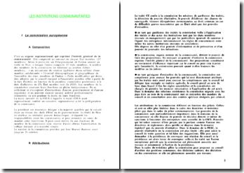 Les institutions communautaires de l'Union européenne