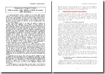 Commentaire Comparé d'arrêts CJCE, 6 octobre 1982, CILFIT, et CJCE, 22 octobre 1987, Foto-Frost