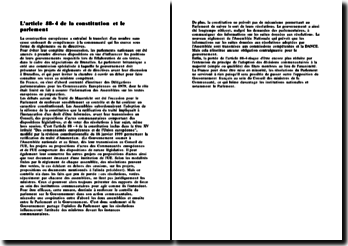 L'article 88-4 de la constitution et le parlement