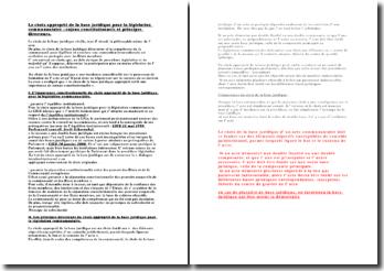 Le choix approprié de base juridique pour la législation communautaire : enjeux constitutionnels et principes directeu