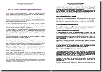Pour ou contre un droit européen des contrats?