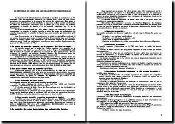 Le contrôle de l'Etat sur les Collectivités Territoriales - décentralisation et transfert de compétences