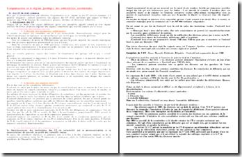 L'organisation et le régime juridique des collectivités territoriales de droit commun