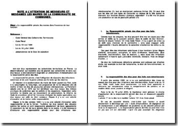 Note administrative, la responsabilité pénale des maires