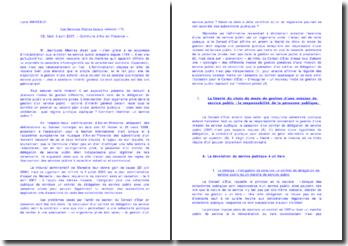 Les services publiques locaux: Commentaire, CE, 2007 'commune d'Aix en Provence'