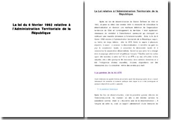 La loi relative à l'administration territoriale de la République de 1992