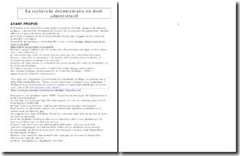 La recherche documentaire en droit administratif - Methodologie