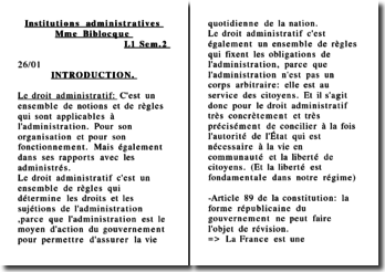 Institutions administratives - L1