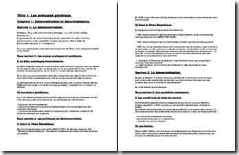 Les principes généraux de l'organisation administrative
