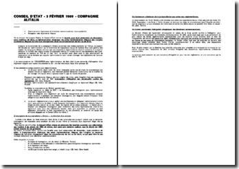 Conseil d'Etat, 3 février 1989, Compagnie Alitalia