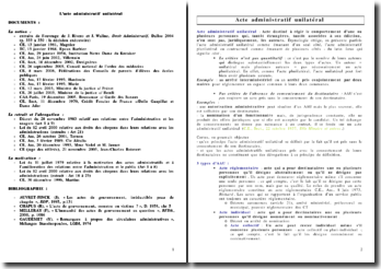 Identification et régime juridique de l'acte administratif