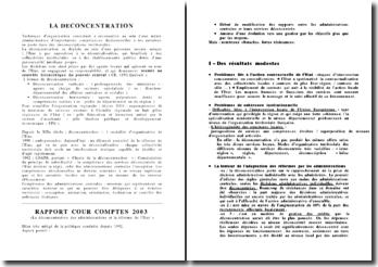 La déconcentration à l'aune du rapport de la Cour des Comptes de 2003