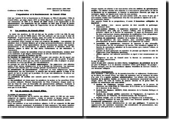 L'organisation et le fonctionnement du Conseil d'Etat