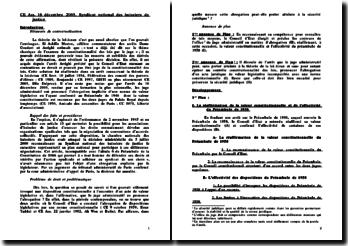Conseil d'Etat, 16 décembre 2005, Syndicat national des huissiers de justice