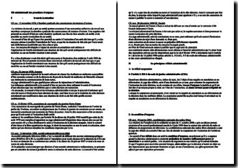 Listes d'arrêts liés aux mesures d'urgences