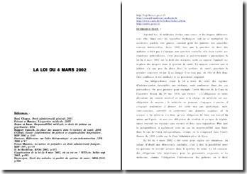 La loi du 4 mars 2002 relative aux droits des malades