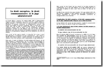 Le droit européen, le droit communautaire et le juge administratif