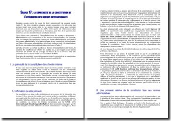 La suprématie de la constitution et l'intégration des normes internationales