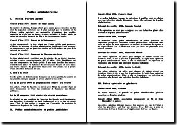Fiche de jurisprudence sur le thème de la police administrative