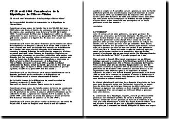 Conseil d'Etat, 18 avril 1986, Commissaire de la République de l'Ille-et-Vilaine
