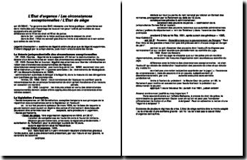 L'Etat d'urgence / Les circonstances exceptionnelles / L'Etat de siège : la légalité d'exception
