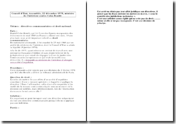 Conseil d'Etat, Assemblée, 22 décembre 1978, ministre de l'intérieur contre Cohn-Bendit