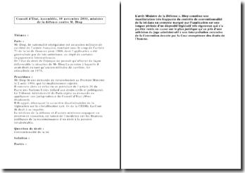 Conseil d'Etat, Assemblée, 30 novembre 2001, ministre de la défense contre M. Diop