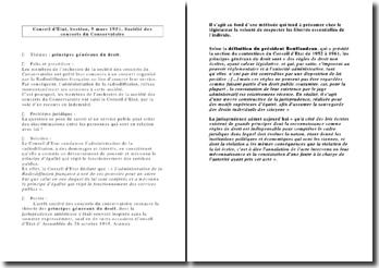 Conseil d'Etat, Section, 9 mars 1951, Société des concerts du Conservatoire