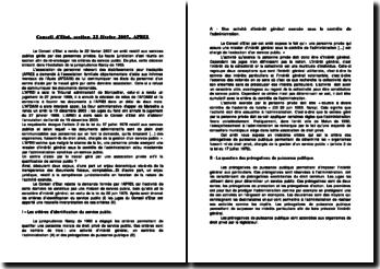 Conseil d'Etat, section, 22 février 2007, APREI